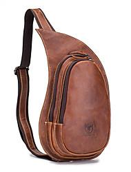 cheap -Men's Zipper Cowhide Sling Shoulder Bag Animal Brown