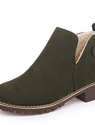 cheap -Women's Boots Flat Heel Round Toe Suede Booties / Ankle Boots Winter Black / Brown / Green