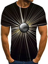 cheap -Men's Daily Sports Basic / Exaggerated T-shirt - Color Block / 3D / Tie Dye Black & White, Print Black
