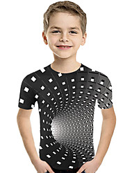 cheap -Kids Toddler Boys' Active Basic Geometric Print Color Block Print Short Sleeve Tee Black