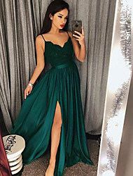 cheap -A-Line Spaghetti Strap Sweep / Brush Train Satin Sexy / Green Prom / Formal Evening Dress with Appliques / Split 2020