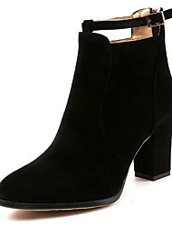 cheap -Women's Boots Chunky Heel Round Toe Suede Booties / Ankle Boots Fall & Winter Black / Camel