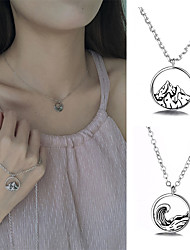 cheap -Exquisite 925 mountain Necklace ocean wave collarless retro Round Pendant simple jewelry suitable for lovers' girlfriends