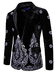 cheap -Men's Blazer, Geometric Notch Lapel Polyester Black / Wine / Royal Blue