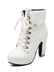 cheap -Women's Boots Chunky Heel Round Toe Synthetics British Winter Black / Brown / Almond