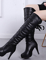 cheap -Women's Boots Stiletto Heel Round Toe Synthetics Knee High Boots Sweet / British Winter / Fall & Winter Black / Party & Evening