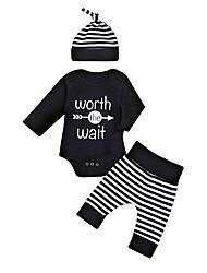 preiswerte -Baby Jungen Freizeit / Aktiv Gestreift / Druck Druck Kurzarm Lang Kleidungs Set Schwarz
