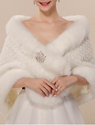 cheap -Sleeveless Wool / Faux Fur / Acrylic Wedding / Party / Evening Women's Wrap / Women's Scarves With Sparkling Glitter / Crystals Shawls / Capes