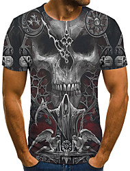cheap -Men's Plus Size Geometric 3D Pleated Print T-shirt Street chic Exaggerated Daily Going out Round Neck Gray / Short Sleeve / Skull