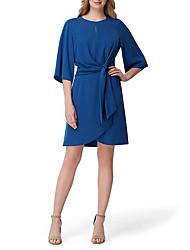 cheap -Sheath / Column Jewel Neck Short / Mini Stretch Satin Half Sleeve Plus Size Mother of the Bride Dress with Sash / Ribbon 2020