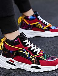 cheap -Men's Comfort Shoes Mesh Fall & Winter Sneakers Color Block Black / White / Black / Red / Black / Blue