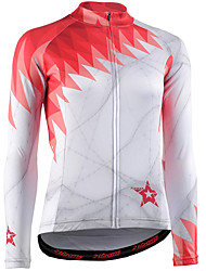 cheap -21Grams Women's Long Sleeve Cycling Jersey Winter Fleece 100% Polyester Red / White Bike Jersey Padded Shorts / Chamois Top Mountain Bike MTB Road Bike Cycling UV Resistant Breathable Quick Dry Sports