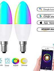 cheap -WiFi Smart Lamp Candle Bulb E27 -E14-E12 RGB Bulb AC85-265V Dimmable Support Alexa / Google Home Control By Smartphone Application