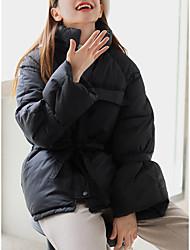 Недорогие -Жен. Однотонный Короткая На подкладке, Искусственный шёлк Черный / Белый / Красный S / M / L
