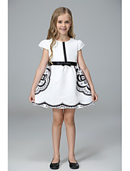 cheap -Kids Toddler Girls' Sweet Cute Black & White Floral Bow Short Sleeve Knee-length Dress White