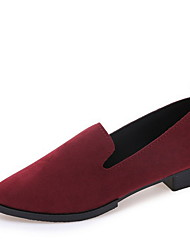 cheap -Women's Flats Chunky Heel Pointed Toe Suede Fall & Winter Black / Wine / Light Brown