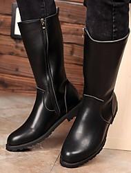 cheap -Men's Combat Boots PU Winter Boots Mid-Calf Boots Black