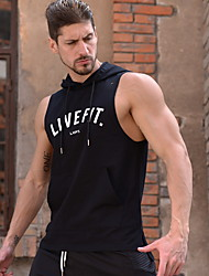 cheap -Men's Graphic Letter Print Slim Tank Top Active Daily Sports Gym Hooded White / Black / Summer / Sleeveless