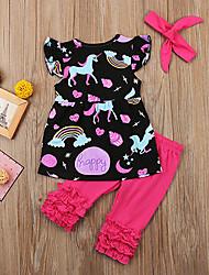 cheap -Baby Girls' Casual / Active Fantastic Beasts Print / Solid Colored Print Sleeveless Long Clothing Set Blushing Pink