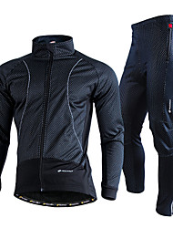 cheap -Nuckily Men's Long Sleeve Cycling Jacket with Pants Winter Fleece Lycra Black Solid Color Bike Clothing Suit Thermal Warm Windproof Fleece Lining Breathable Quick Dry Sports Solid Color Mountain Bike