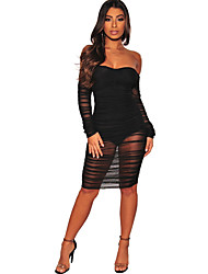 cheap -Women's Daily Wear Street chic Bodycon Dress - Solid Colored Black Wine S M L XL