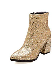 cheap -Women's Boots Chunky Heel Pointed Toe PU Booties / Ankle Boots Winter Gold / Silver / Green
