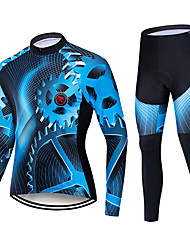 cheap -TELEYI Men's Long Sleeve Cycling Jersey with Tights Black / Blue Bike Padded Shorts / Chamois Clothing Suit Thermal / Warm Windproof Quick Dry Winter Sports Polyester Solid Color Mountain Bike MTB