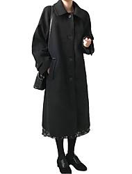 abordables -Femme Quotidien / Travail Basique / Chic de Rue Hiver Longue Manteau, Couleur Pleine Noir & rouge Col romain Manches Longues Laine / Coton Mosaïque Noir / Beige