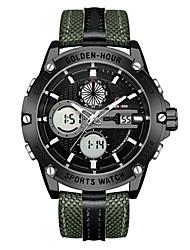 cheap -Men's Sport Watch Quartz Sporty Green / Grey / Khaki 30 m Water Resistant / Waterproof Calendar / date / day Day Date Analog - Digital Fashion - Green Gray Khaki One Year Battery Life