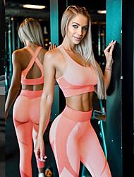 cheap -Women's 2 Piece Yoga Suit Seamless Cross Back Removable Pad Fashion Pink Elastane Home Workout Running Fitness High Waist Sports Bra Leggings Sport Activewear Butt Lift Tummy Control Freedom Squat