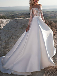 cheap -A-Line Bateau Neck Court Train Satin Made-To-Measure Wedding Dresses with Appliques by LAN TING Express