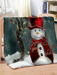 cheap -Winter Blanket Christmas Snowman Digital Printed Coral Fleece Thickened Warm Sofa Blankets