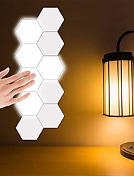 cheap -10pcs Creative Honeycomb Modular Assembly Helios Touch Wall Lamp Quantum lamp LED Magnetic Wall Light Bedroom Lamp