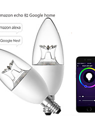 cheap -WiFi Crystal Color Changing Light Bulb Intelligent App Control Led Candle Tip Bubble Butt Alexa Voice Light