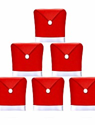 cheap -6Pcs Santa Claus Red Hat Sets Of Non-Woven Chair Back Covers Christmas Gift Supplies 65 * 50cm