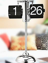 cheap -Flip Clock, Retro Mechanical Style Flip Desk Clock, Flip Number Floor Clock for Home Decor, Cool Unique Auto Flip Down Clock, Stainless Steel, Battery Powered
