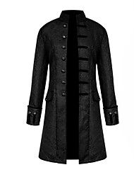 cheap -Men's Daily Fall & Winter Regular Coat, Solid Colored Stand Long Sleeve Polyester Black / White / Blue