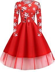 cheap -Women's A-Line Dress Midi Dress Long Sleeve Floral Elegant Christmas Black Blue Red Green Light Green S M L XL XXL 3XL 4XL 5XL