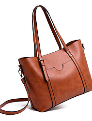 cheap -Women's PU Top Handle Bag Solid Color Black / Brown / Red
