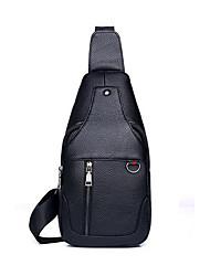 cheap -Men's Zipper Cowhide Sling Shoulder Bag Solid Color Black / Brown
