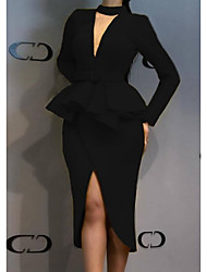 cheap -Women's Elegant Sheath Dress - Solid Colored Split Black Yellow Royal Blue S M L XL