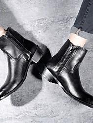 cheap -Men's Combat Boots Leather Winter Boots Mid-Calf Boots Black