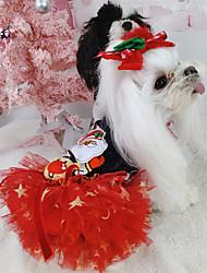 Недорогие -Собаки Платья Зима Одежда для собак Красный Костюм Полиэстер Кружева Звезды Дед Мороз Косплей Рождество XS S M L XL