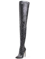 cheap -Women's Boots Print Shoes Stiletto Heel Pointed Toe Synthetics Thigh-high Boots Sweet / British Winter / Fall & Winter Brown / Dark Grey / Wine / Wedding / Party & Evening