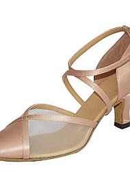 cheap -Women's Modern Shoes / Ballroom Shoes Satin / PU Cross Strap Heel Paillette Flared Heel Customizable Dance Shoes Black / Silver / khaki / Performance