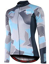 cheap -21Grams Women's Long Sleeve Cycling Jersey Grey Bike Jersey Top Mountain Bike MTB Road Bike Cycling UV Resistant Breathable Quick Dry Sports 100% Polyester Clothing Apparel / Stretchy / Italian Ink