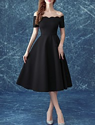 cheap -A-Line Off Shoulder Tea Length Satin Little Black Dress Cocktail Party / Holiday Dress with 2020