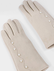 cheap -Suede Wrist Length Glove Artistic Style / Gloves With Faux Pearl