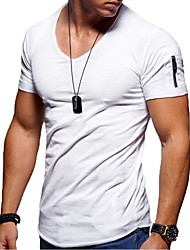cheap -Men's Tee T shirt Solid Colored Short Sleeve Causal Tops Basic Slim Fit Comfortable Big and Tall White Black Blue