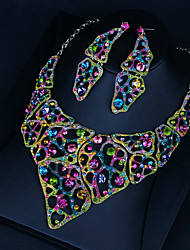 cheap -Women's Clear Blue Red AAA Cubic Zirconia Collar Necklace Chandelier Heart Luxury Fashion Elegant Earrings Jewelry Rainbow For Wedding Engagement Holiday 1 set